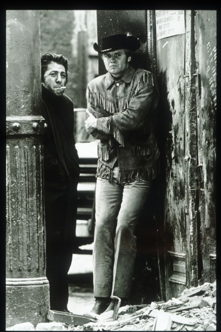 Dustin Hoffman and Jon Voight pose in a still from the film 'Midnight Cowboy' June 15, 1968 in the USA