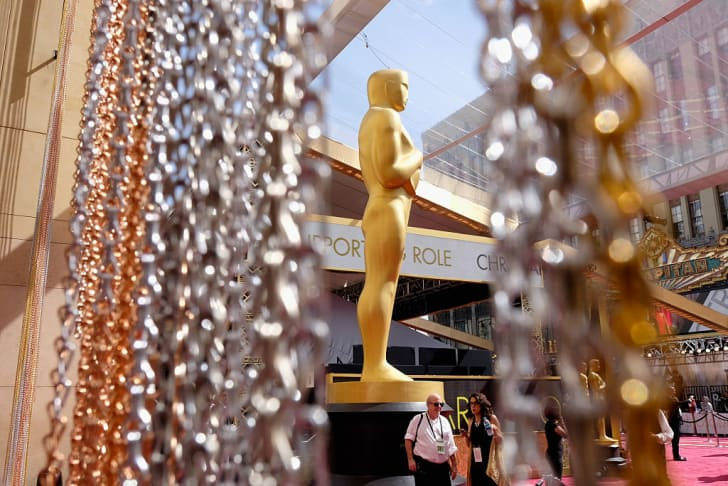 The Oscar statuette is displayed on the red carpet during the 88th Annual Academy Awards at Hollywood & Highland Center on February 28, 2016 in Hollywood, California