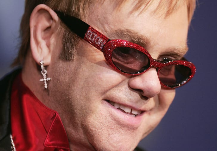Elton John is photographed during a public performance