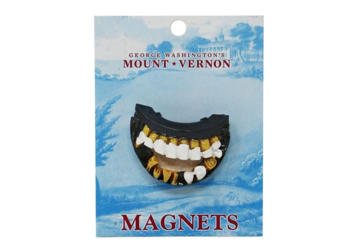 A replica magnet of George Washington's fake teeth