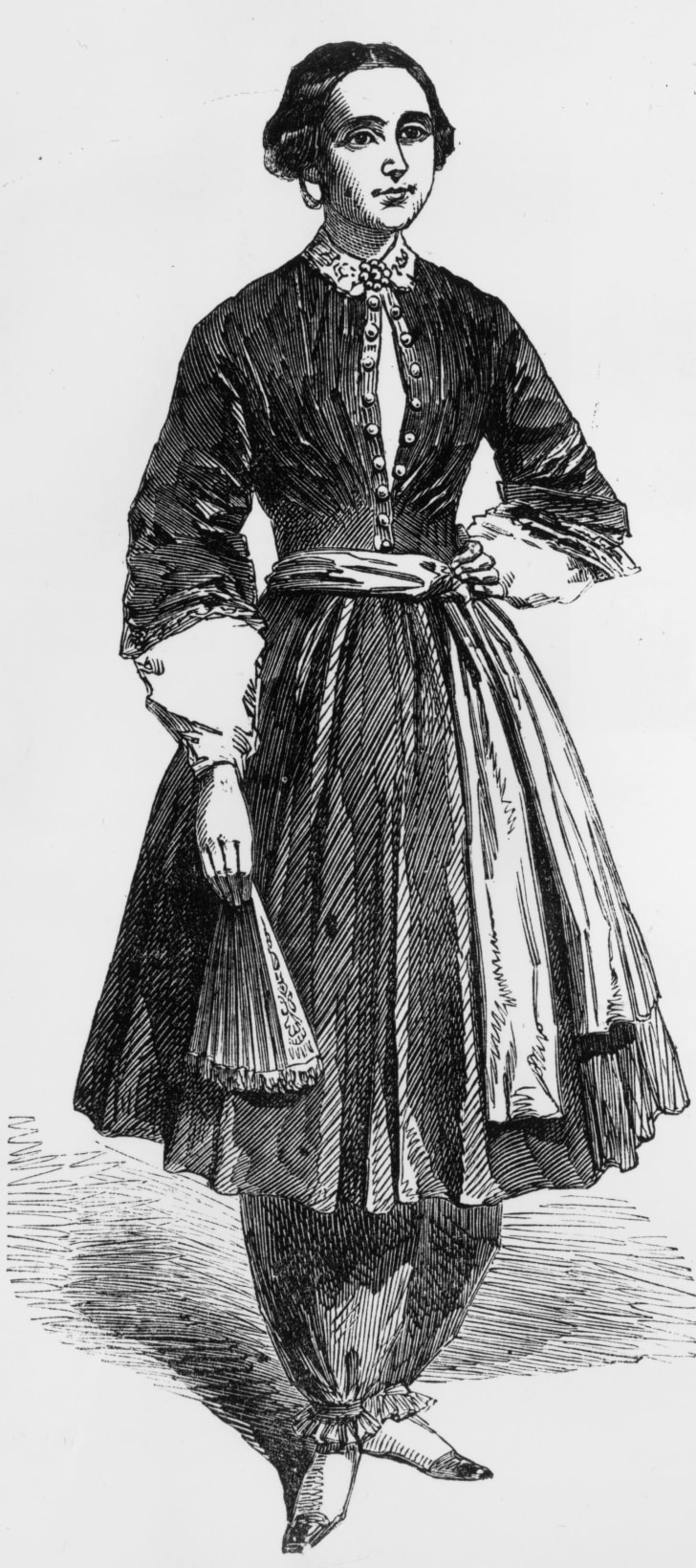 Amelia Bloomer in the outfit she designed, with