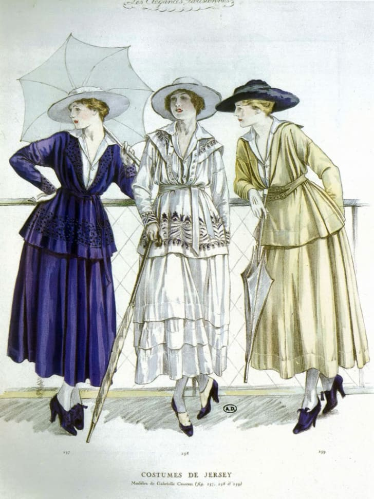 Illustration published in 'Les Elegances Parisiennes,' showing three women in day outfits by
