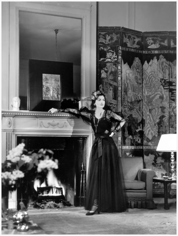 Chanel in her suite at the Ritz hotel in Paris, 1937