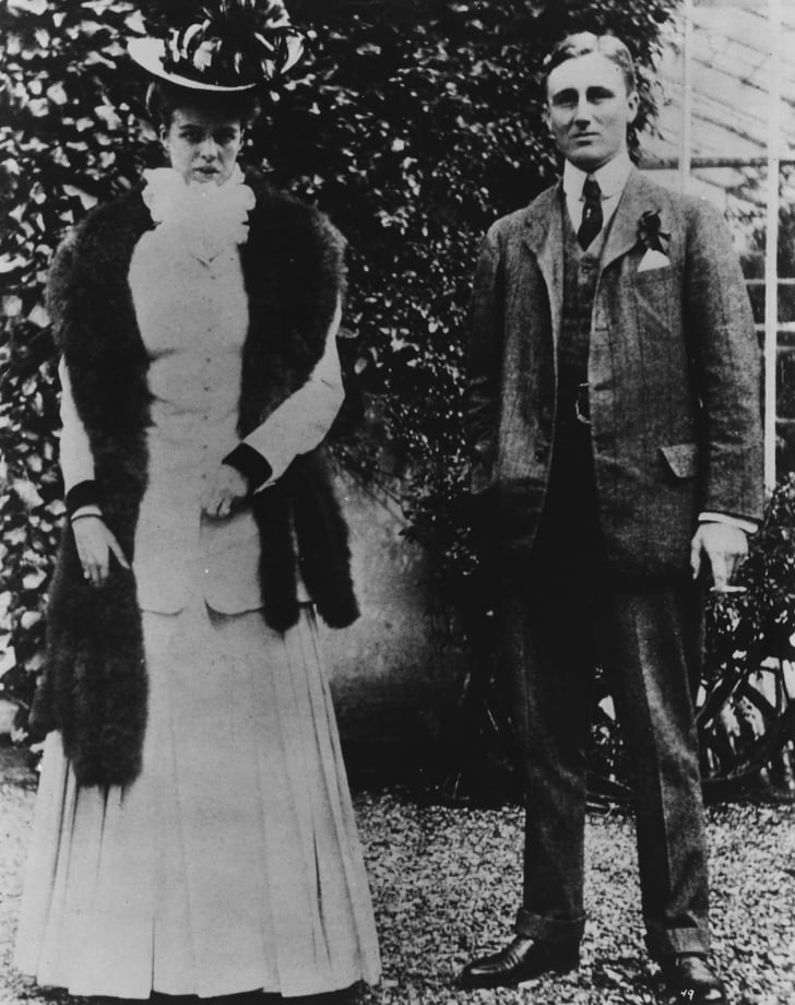 Portrait of Franklin D Roosevelt and his wife, Eleanor, taken at the time of their engagement, circa 1903.