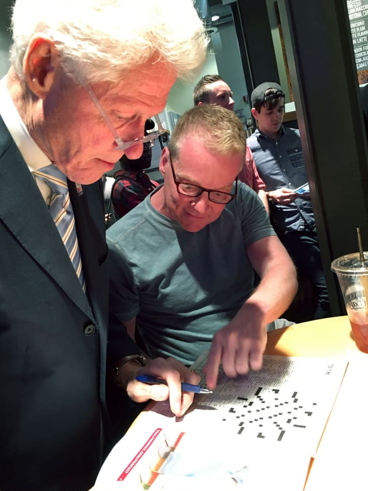 Bill Clinton does a crossword puzzle