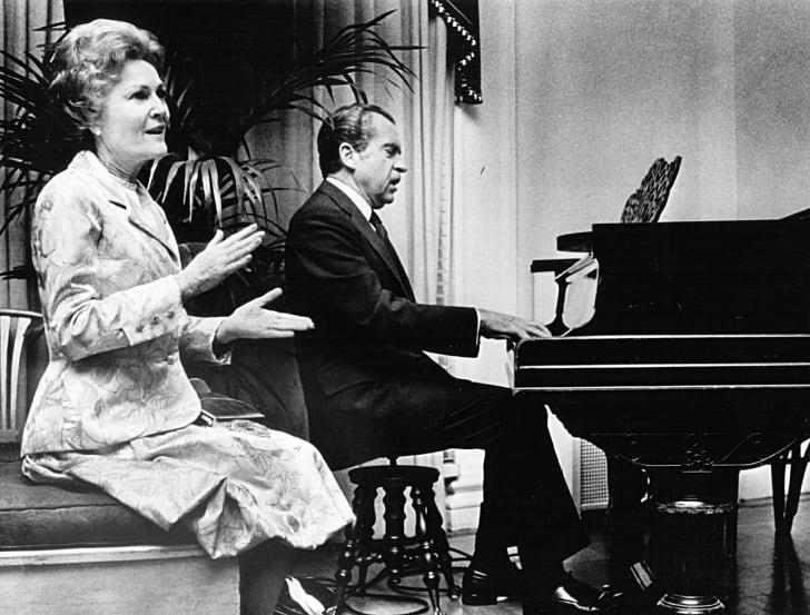 Richard Nixon playing the piano.