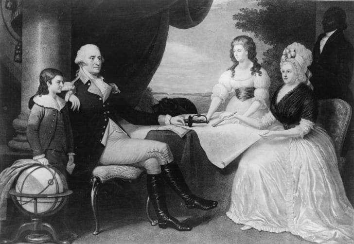 George Washington with his family.