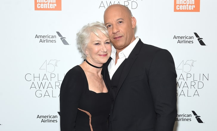 Helen Mirren and Vin Diesel attend the 45th Chaplin Award Gala at the on April 30, 2018 in New York City