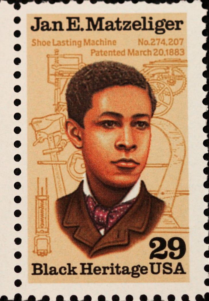 Postage stamp featuring Jan Ernst Matzeliger