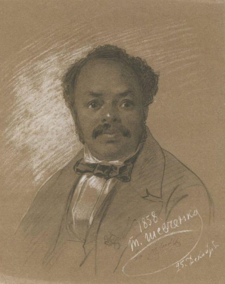 Portrait of Ira Aldridge by Taras Shevchenko in 1858
