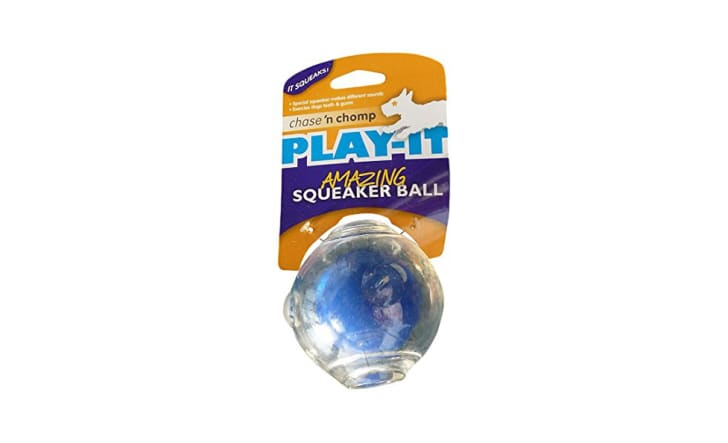 A squeaker ball in its packaging