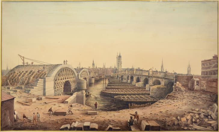 A painting of the old and new London Bridges