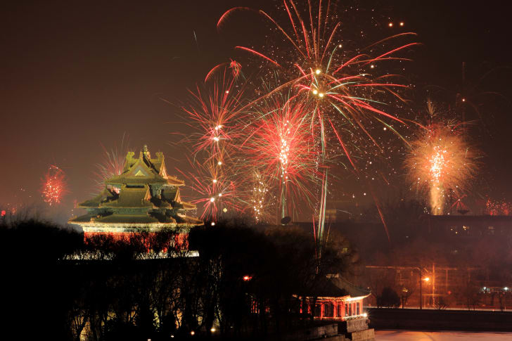 fireworks over Beijing's Forbidden City