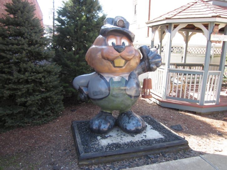 Wooden groundhog statue