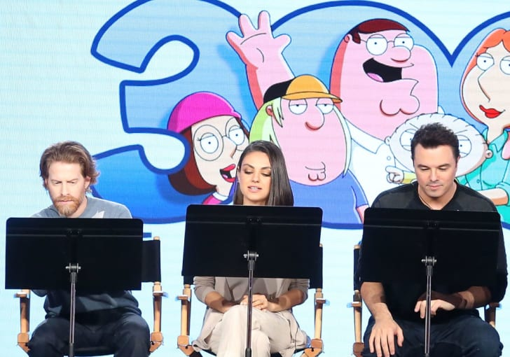 Actors Seth Green and Mila Kunis and creator/executive producer Seth MacFarlane of the television show Family Guy perform a live read onstage during the FOX portion of the 2018 Winter Television Critics Association Press Tour at The Langham Huntington, Pa