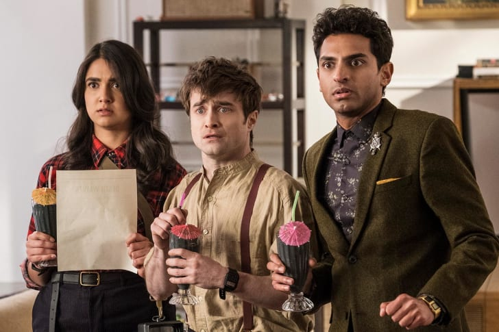 An image of Daniel Radcliffe, Geraldine Viswanathan, and Karan Soni in Miracle Workers.