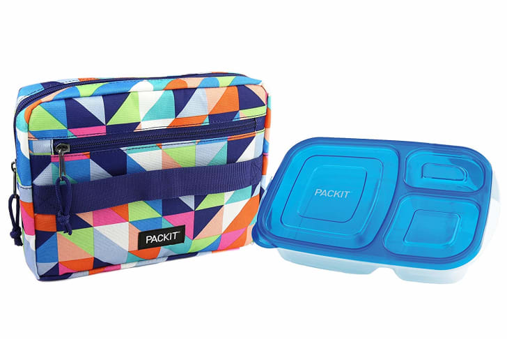 Plastic food container and patterned bag