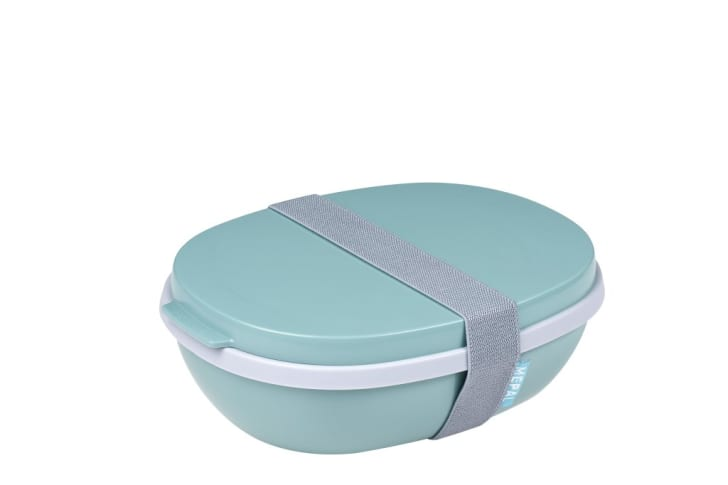 Green oval lunch container with strap holding the lid and the base together