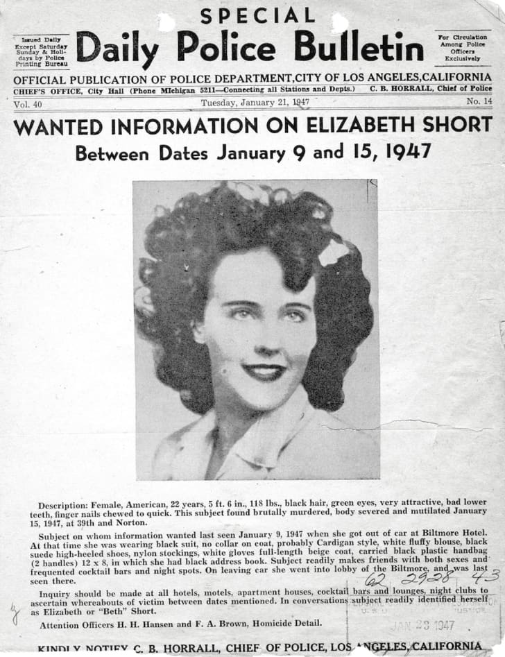 Police bulletin distributed by the Los Angeles Police Department, accessed on the official website for the U.S. Federal Bureau of Investigation