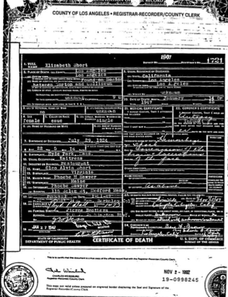 Copy of Elizabeth Short's death certificate, Los Angeles County