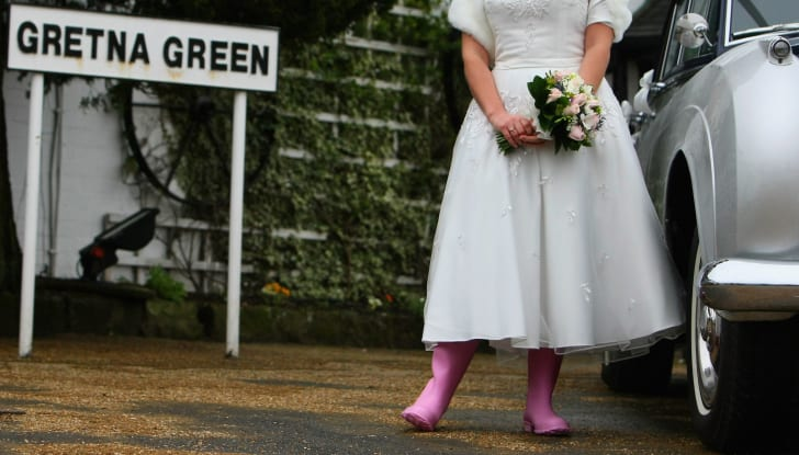 Laura Lines stands for pictures after getting married in February 29, 2008 in Gretna Green, Scotland.