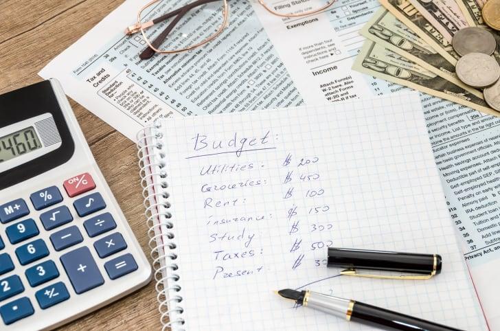A handwritten budget in a notebook