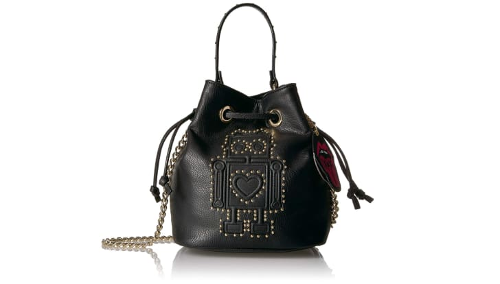A black faux-leatherr purse with a robot on it