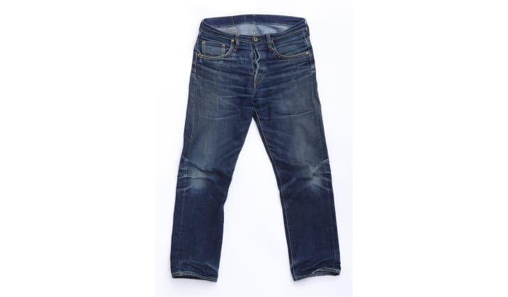 A pair of denim jeans