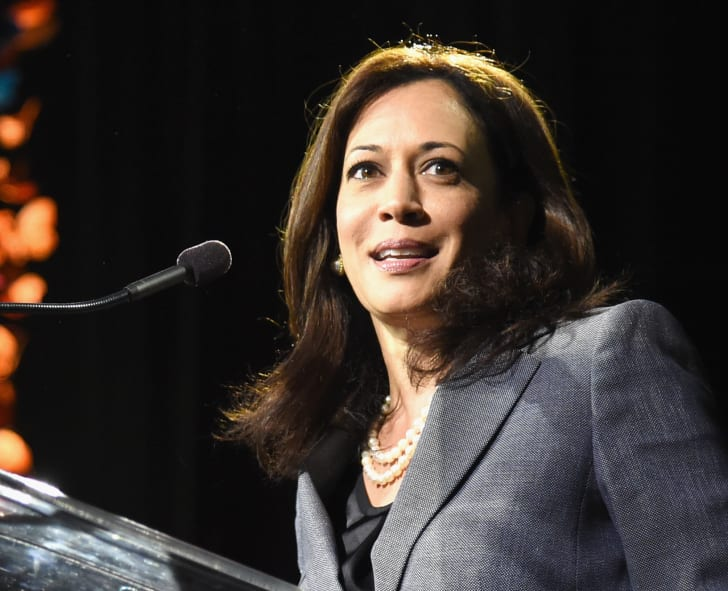 Kamala Harris speaking onstage in 2014