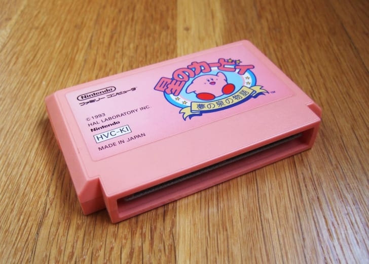A Kirby video game cartridge
