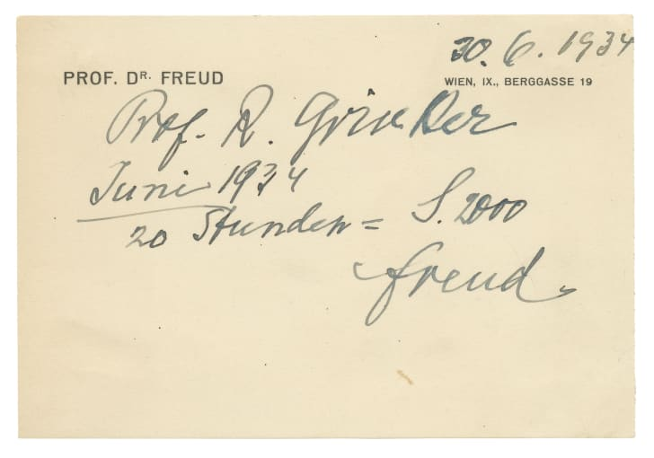 An invoice signed by Sigmund Freud