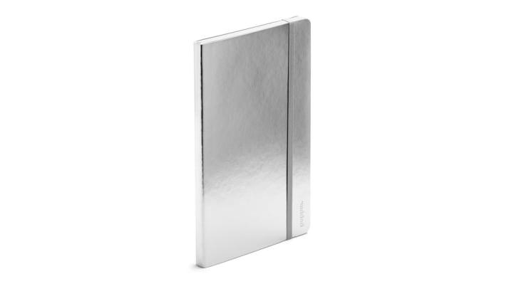A shiny silver notebook