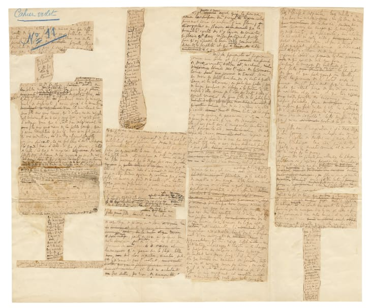 A manuscript handwritten by Marcel Proust
