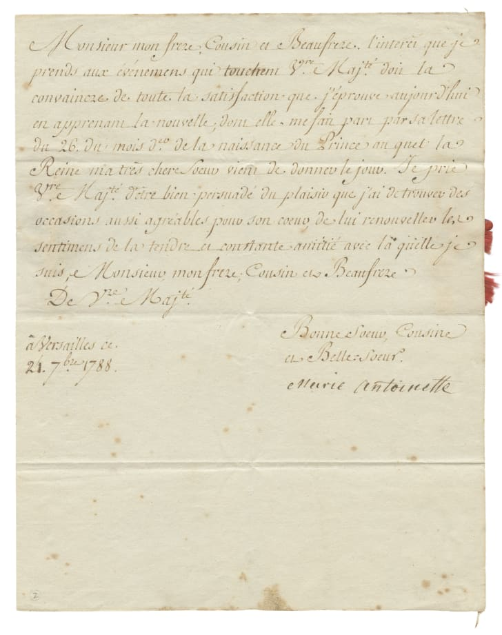 A letter signed by Marie Antoinette