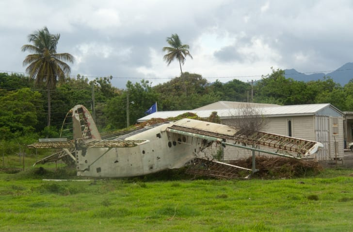A destroyed aircraft at Pearls Airport, Grenada
