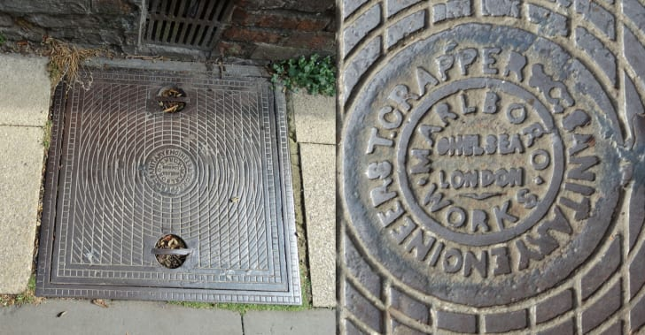 Manholes with Thomas Crapper's name on them