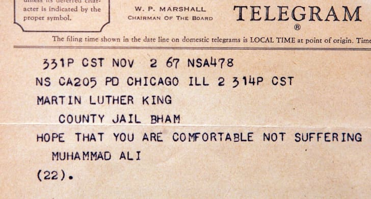 A telegram from boxer Muhammad Ali mailed to a jailed Dr. Martin Luther King Jr. in 1967.