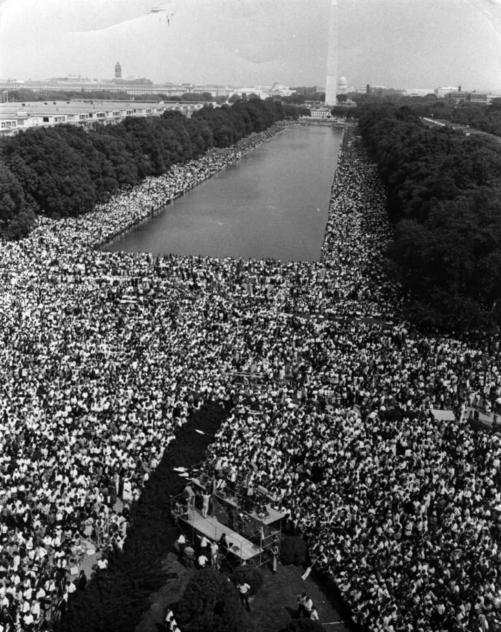 Over 200,000 people gather around the Lincoln Memorial in Washington, D.C., where the 1963 civil rights March on Washington ended with Martin Luther King's