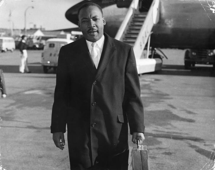 Dr. Martin Luther King Jr. arrives in London in 1961.