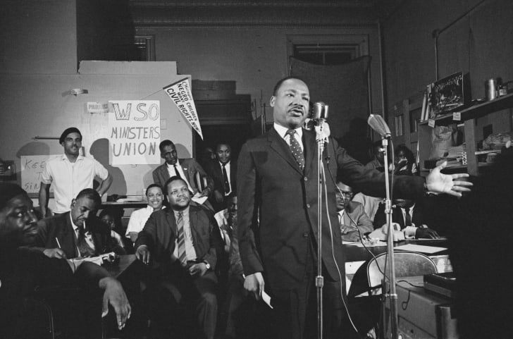 Dr. Martin Luther King Jr. addresses a meeting in Chicago, Illinois, in May 1966.