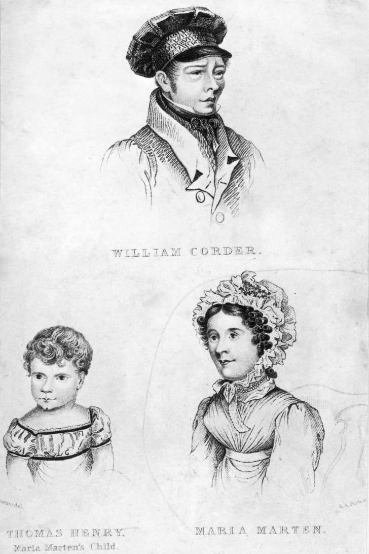 William Corder, his lover Maria Marten, and Marten's son Thomas Henry Marten, circa 1827
