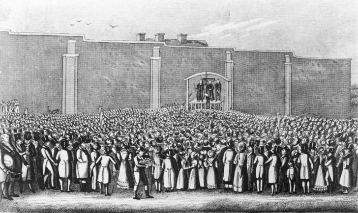 The execution of William Corder at the gallows in Bury St. Edmunds, Suffolk