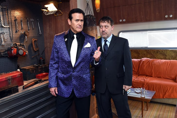 Bruce Campbell and Sam Raimi attend STARZ' Ash vs Evil Dead At New York Comic Con at Jacob Javits Center on October 10, 2015 in New York City