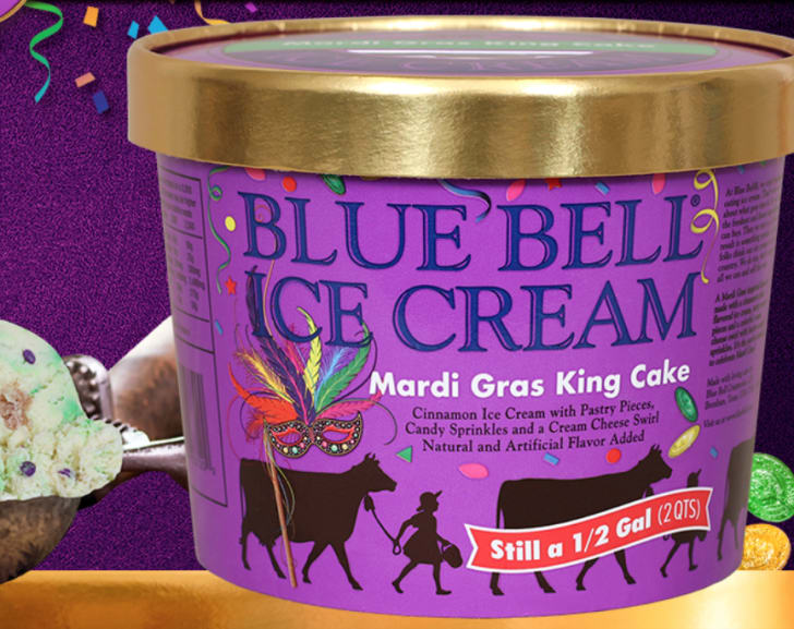 Carton of Blue Bell Mardi Gras King Cake ice cream.