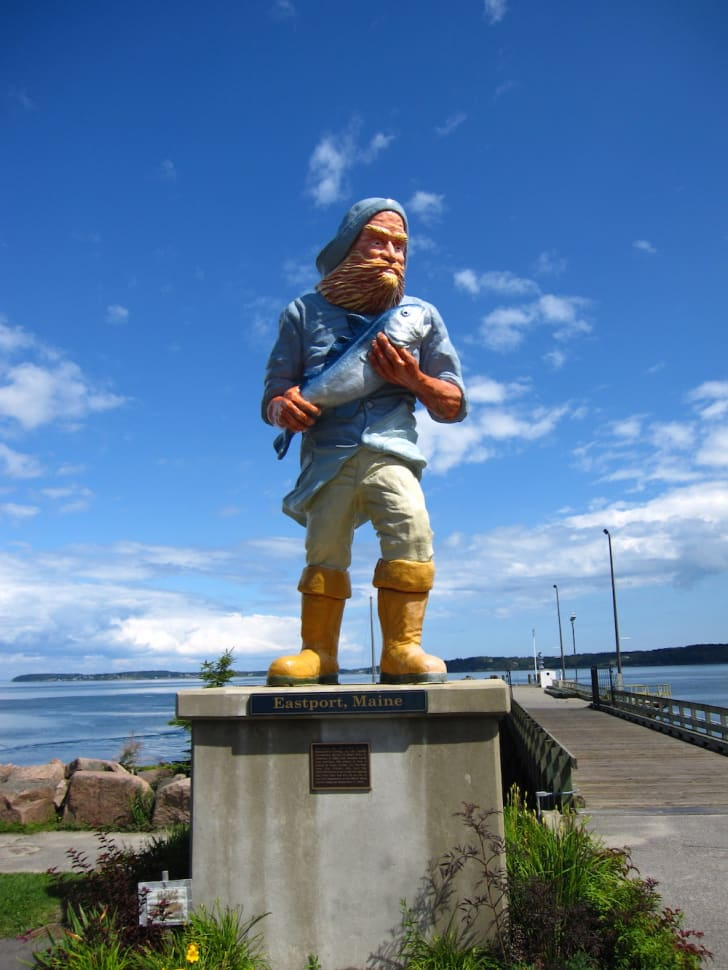 Statue of a fisherman in Eastport, Maine.