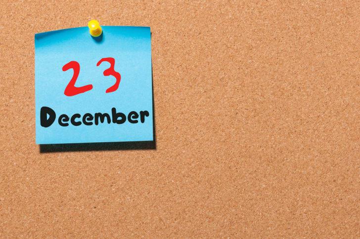 A calendar shows December 23