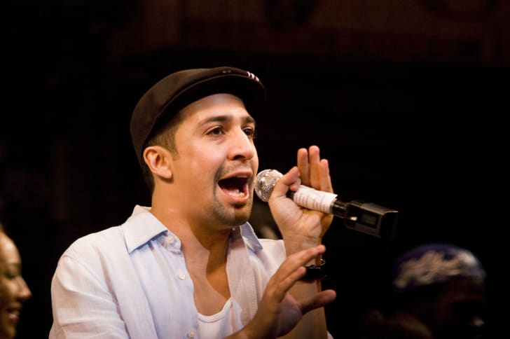 Writer/actor Lin-Manuel Miranda attends the curtain call for the opening night of 'In The Heights' at the Richard Rodgers Theatre March 9, 2008 in New York City