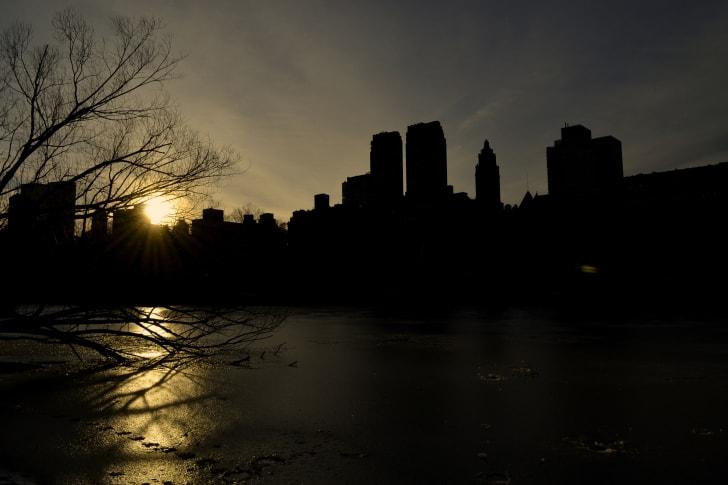sun setting over Central Park