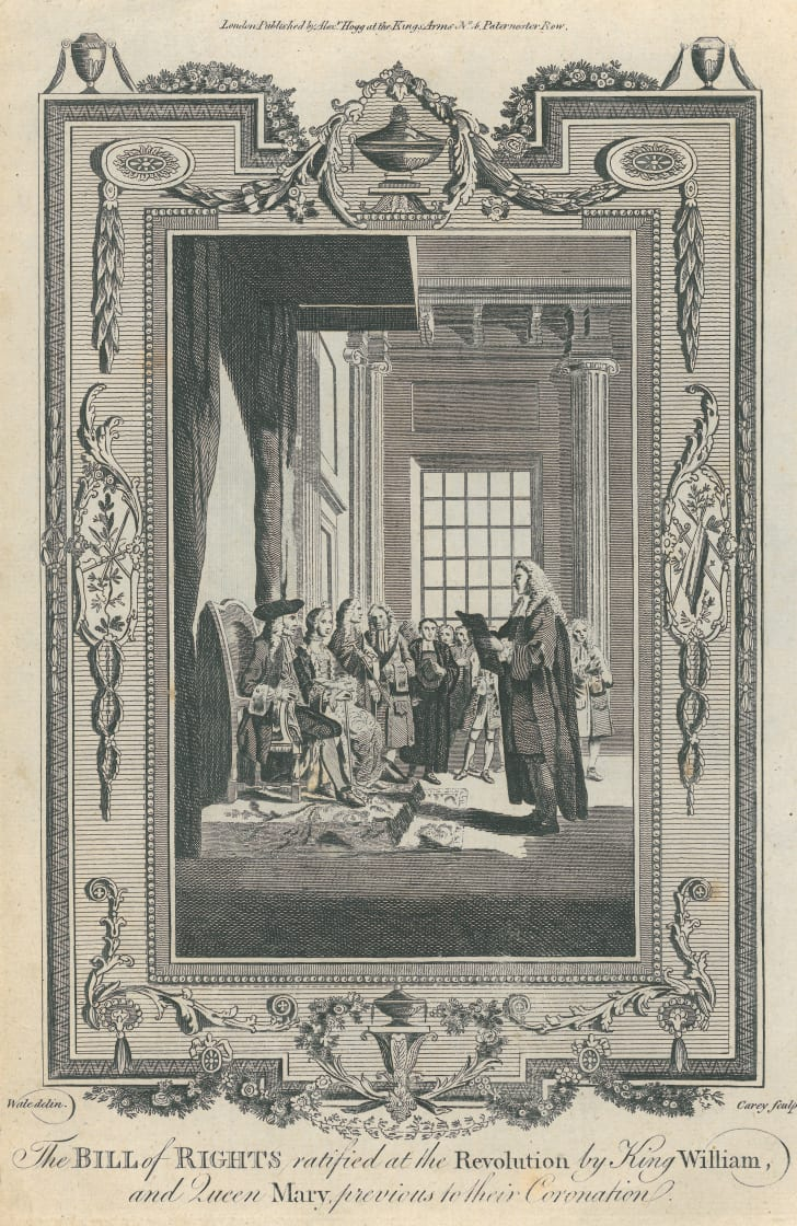 An engraving showing the English Bill of Rights being presented to William and Mary (William III of England and Mary II of England), 1689.