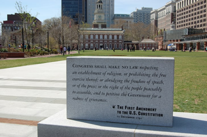 1st amendment at Independence Hall